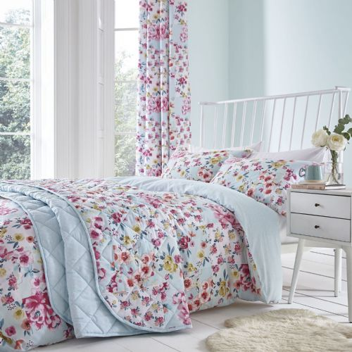 Catherine Lansfield Flower Patchwork Duck Egg Bedding Set